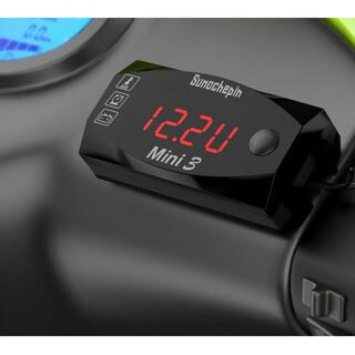 LEDメーター バイク用時計 温度計 オートバイ メーター 電圧計 IP67防水(その他)