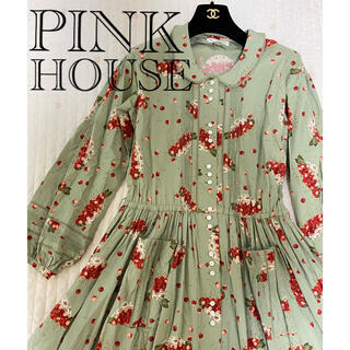 PINK HOUSE - ピンクハウス チェリー さくらんぼ ワンピース  ピンタック 長袖 綿ローン