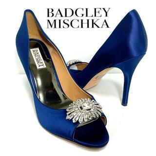 マノロブラニク(MANOLO BLAHNIK)の超美品 Badgley Mischka 9M ビジューサテンオープントゥ ブルー(ハイヒール/パンプス)