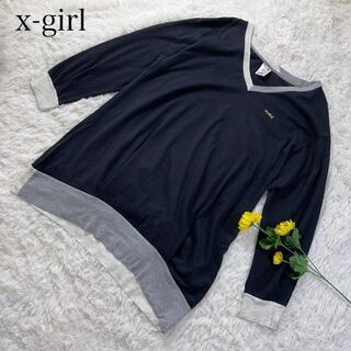 エックスガール(X-girl)のX-girl ワンポイントロゴ 刺繍 ロンt チュニック(Tシャツ(長袖/七分))