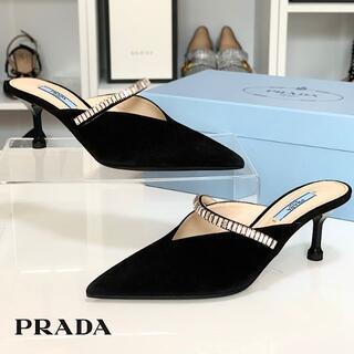 PRADA - 3298 プラダ スエード ビジュー ミュール ブラック