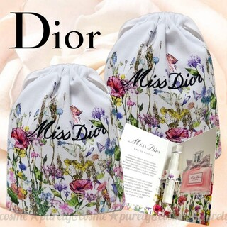 Christian Dior - 【Dior】 ミス ディオール フラワーデザイン 巾着 ポーチ 2set