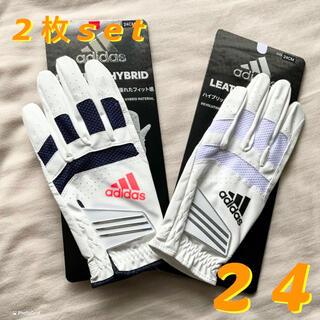 adidas - R★新品送料込◆adidas golf◆ハイブリッド レザーグローブ◆白赤24