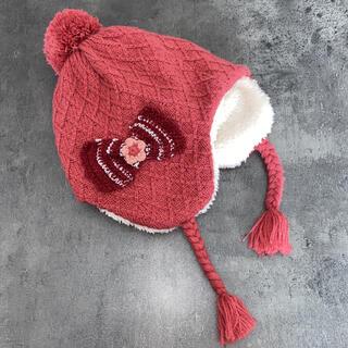 hakka baby - 美品S★Hakka リボンモチーフ付き耳あてニット帽子