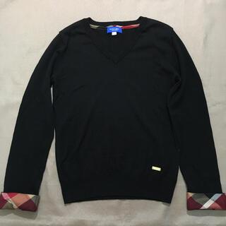 バーバリーブルーレーベル(BURBERRY BLUE LABEL)のブルーレーベルクレストブリッジ ニットシャツ セーター 36  ブラック(ニット/セーター)
