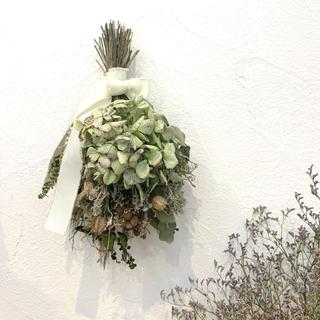 ドライフラワー 紫陽花とバーゼリアのグリーンナチュラルなスワッグ  736(ドライフラワー)