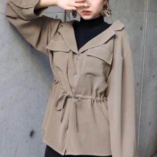 ムルーア(MURUA)のMURUA ニット ドッキング シャツ カーキ ブラック(ニット/セーター)