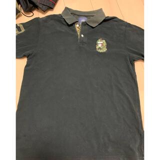 アベイシングエイプ(A BATHING APE)の激安L! BAPEファーストカモ猿刺繍ポロシャツ黒(ポロシャツ)