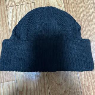 ウィゴー(WEGO)のWEGO ウィゴー ニット帽 ビーニー シンプル 無地 新品未使用 ブラック(ニット帽/ビーニー)