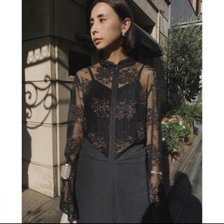 アメリヴィンテージ(Ameri VINTAGE)のFLOWER LACE DRESS  ブラック(ロングドレス)