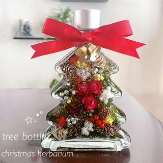 木の実たっぷり♪赤い薔薇でちょっぴり豪華な♪クリスマスハーバリウム♡インテリアに(プリザーブドフラワー)