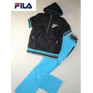 フィラ(FILA)の【2点セット】◆FILA◆ ブラック パーカー ライトブルー パンツ セット(ウエア)