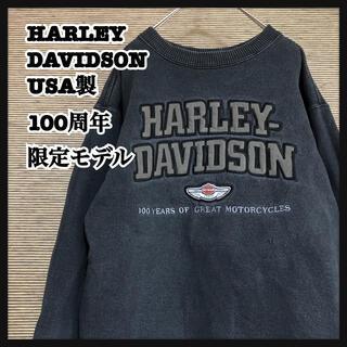 ハーレーダビッドソン(Harley Davidson)の【ハーレーダビッドソン】USA製スウェット 100周年限定 デカロゴ 裏起毛Z(スウェット)