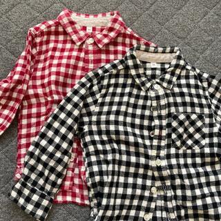 ムジルシリョウヒン(MUJI (無印良品))の無印良品 ギンガムチェック ネルシャツ2枚セット サイズ90(ブラウス)