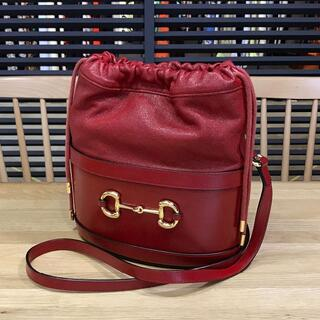 Gucci - 超美品 グッチ 現行 ホースビット1955 バケットバッグ 巾着ショルダー 赤