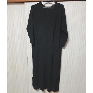 ショコラフィネローブ(chocol raffine robe)のオルチャン  Vネック ブラック ニットワンピース(ひざ丈ワンピース)