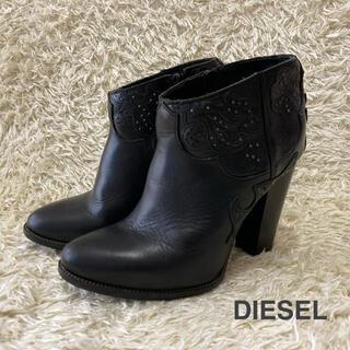 ディーゼル(DIESEL)のDIESEL ディーゼル サイドジップショートブーツ 花柄デザイン 23.5cm(ブーツ)
