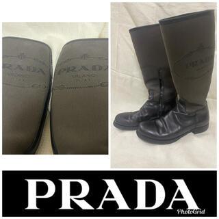 プラダ(PRADA)の【PRADA】プラダ ロングブーツ キャンバス レザー 刺繍 ロゴ(ブーツ)