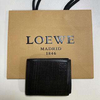 ロエベ(LOEWE)の美品 LOEWE ロエベ メンズ財布 ビフォルド ウォレット 牛革 ブラック(折り財布)