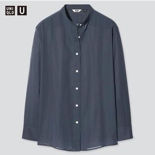 UNIQLO - UNIQLO シアーバンドカラーシャツ 長袖 Mサイズ