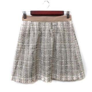 アプワイザーリッシェ(Apuweiser-riche)のアプワイザーリッシェ 台形スカート ミニ ツイード 総柄 2 ベージュ /YI(ミニスカート)
