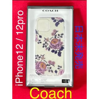 コーチ(COACH)の[新品未使用] コーチ iPhone12/12Pro ラメ 花 透明 #5(iPhoneケース)