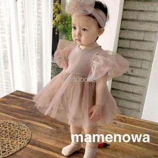 韓国子供服 ベビードレス ロンパース ヘアバンド くすみ 80 ピンク