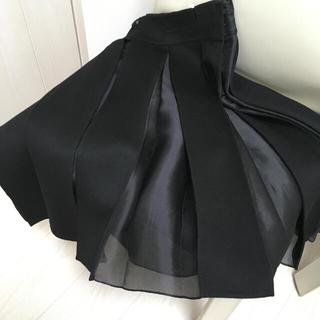 セリーヌ(celine)のCELINE ウール/カシミヤ/シルクオーガンジープリーツスカート 黒(ひざ丈スカート)