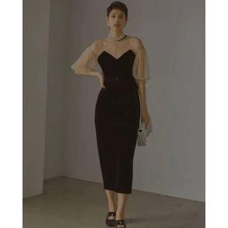 アメリヴィンテージ(Ameri VINTAGE)の【新品未使用タグ付き】TULLE SLEEVE TIGHT DRESS(ロングドレス)
