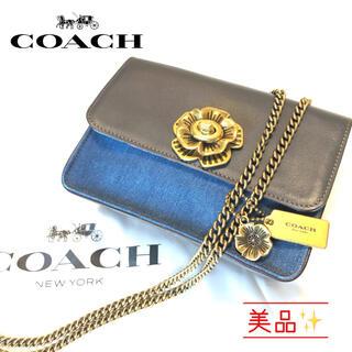 COACH - [美品✨]コーチ ティーローズ バワリー デニム×レザー ショルダーバッグ