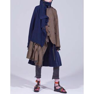 サカイ(sacai)のsacai 2018 pre fall ニットウールドッキングスカート(ひざ丈スカート)
