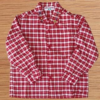 ミキハウス(mikihouse)のミキハウス 長袖チェック柄シャツ 赤×白(ブラウス)