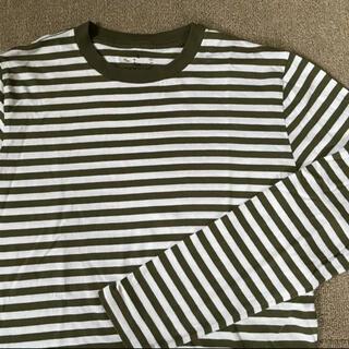 ムジルシリョウヒン(MUJI (無印良品))の無印良品 インド綿天竺編みクルーネック長袖Tシャツ紳士S  カーキボーダー(Tシャツ/カットソー(七分/長袖))