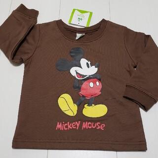 ミッキーマウス(ミッキーマウス)の新品タグ付きミッキーマウス薄手トレーナー90センチ②茶色ディズニー(Tシャツ/カットソー)