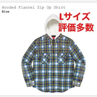 Supreme - Supreme Hooded Flannel Zip Up Shirt 青 L