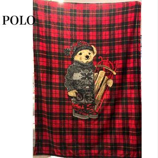 ポロラルフローレン(POLO RALPH LAUREN)のポロ ラルフローレン ブランケット POLO bear ポロベア クマ 毛布 赤(毛布)