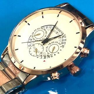 新品 GENEVA ローズゴールドコンビウォッチ ホワイトフェイス メンズ腕時計