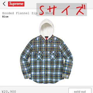 Supreme - Supreme Hooded Flannel Shirt Blue Sサイズ