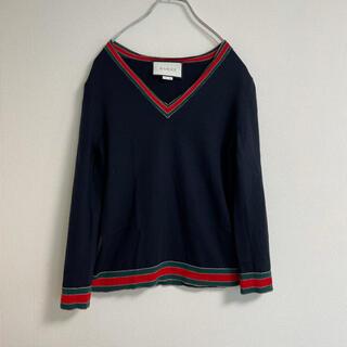 Gucci - GUCCI グッチ レイヤードニットセーター ブラック×グレー Sサイズ