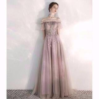 カラードレス Aライン 編み上げ オフシェル ベアトップ ウエディングドレス(ウェディングドレス)
