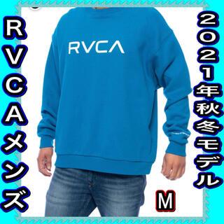 ルーカ(RVCA)のRVCA メンズ ルーカ ロゴ スウェット 裏起毛 ブルー M 新品未使用(スウェット)