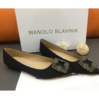 マノロブラニク(MANOLO BLAHNIK)の36cm Manolo Blahnik ローヒール パンプス ブラック(ハイヒール/パンプス)
