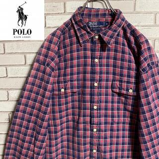 POLO RALPH LAUREN - 90s 古着 ポロ ラルフローレン チェックシャツ ゆるだぼ ビッグシルエット
