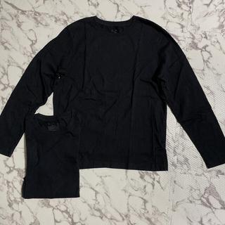ムジルシリョウヒン(MUJI (無印良品))の無印 MUJI クルーネック ロンT 長袖 黒 ブラック 2枚セット Mサイズ(Tシャツ/カットソー(七分/長袖))