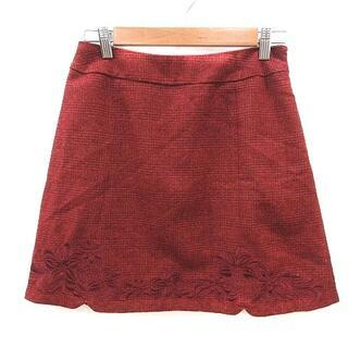 リランドチュール(Rirandture)のリランドチュール Rirandture 台形スカート ミニ 刺繍 2 赤 レッド(ミニスカート)