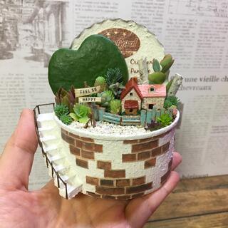 多肉植物の寄せ植え リメ缶妖精の庭