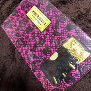 サンリオ(サンリオ)のハローキティ クロコダイル風 フェイス刺繍ワレット ブラック(財布)