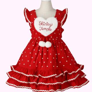 Shirley Temple - 美品 ハートポンポンジャンパースカート 90cm 赤 ワンピース ドット