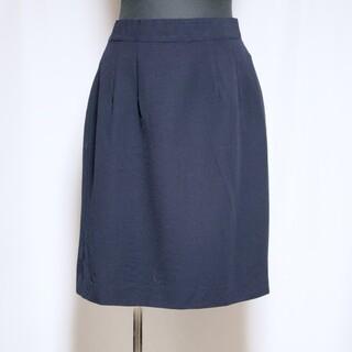 クリスチャンディオール(Christian Dior)の美品 DIOR 台形 スカート ひざ丈 ウール L  ネイビー ミス ディオール(ひざ丈スカート)
