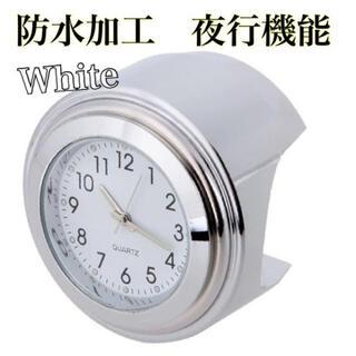 バイク・自転車ハンドル時計 防水加工 夜行機能 簡単装着 ホワイト(その他)